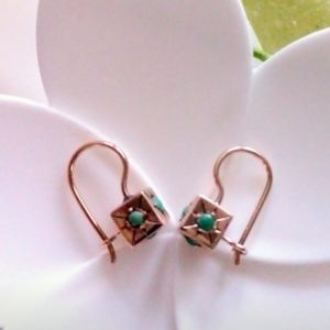 Marlo Laz vintage gold and turquoise earrings.